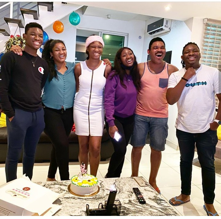 Omotola Jalade-Ekeinde and her family celebrate her eldest child who returns home after completing Masters Degree[Photos]