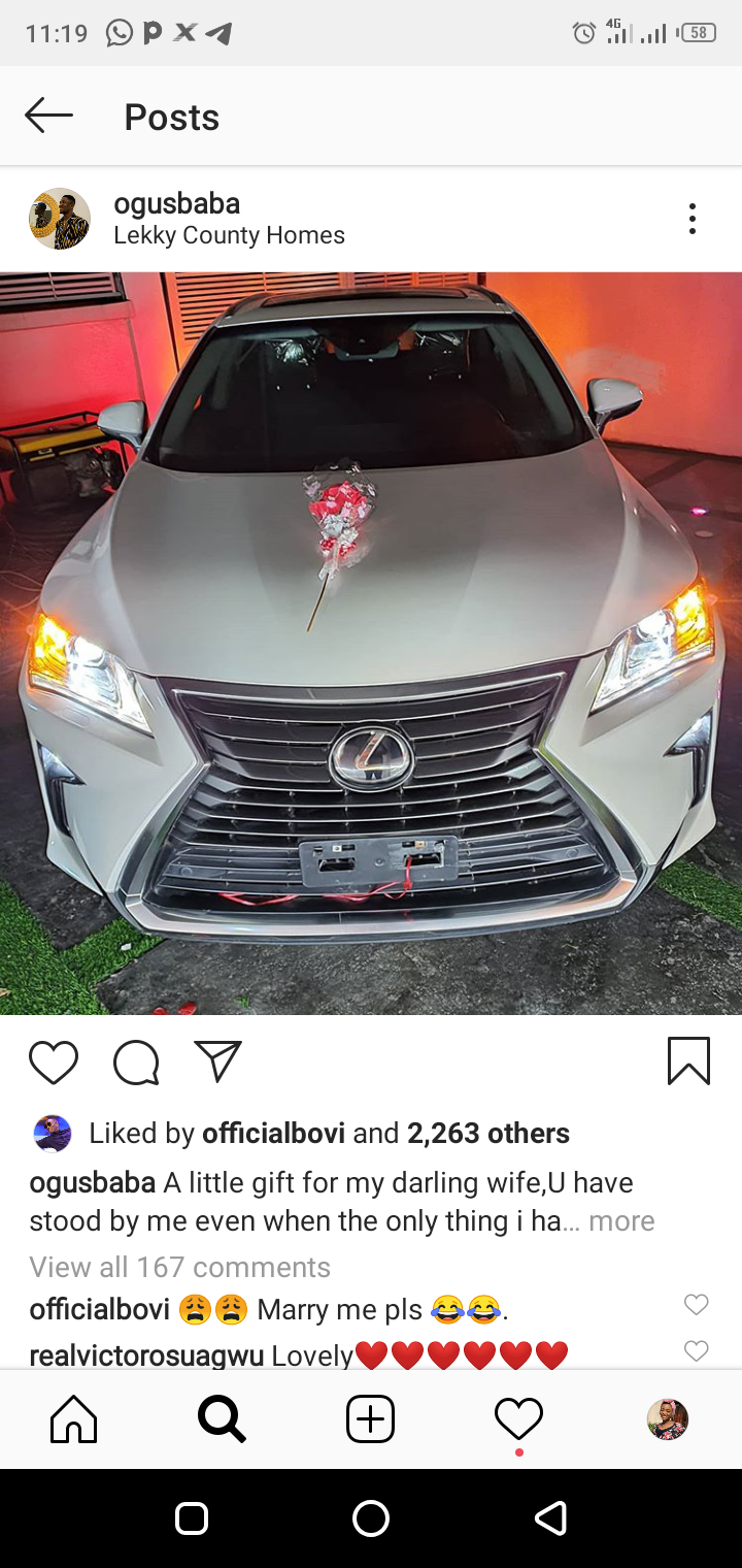 Comedian Ogunsbaba gifts his wife a Lexus SUV